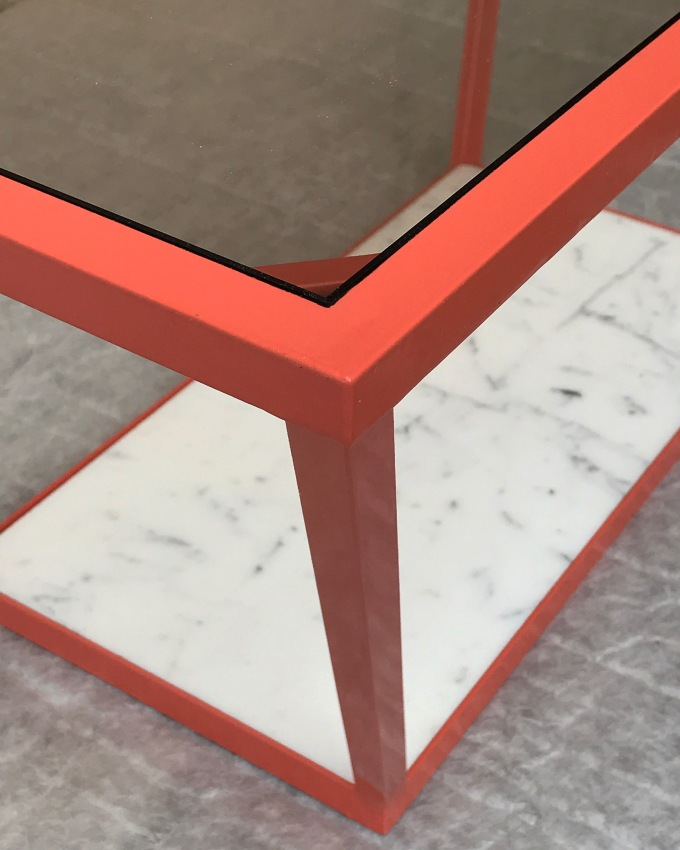 ADAM TABLE / METAL, EPOXY PAINT, SMOKED TEMPERED GLASS AND WHITE MARBLE / 100X50X45 / 1300 EU